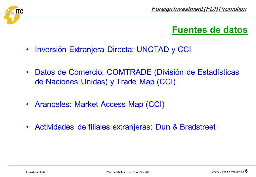 Fuentes de datos Inversión Extranjera Directa: UNCTAD y CCI