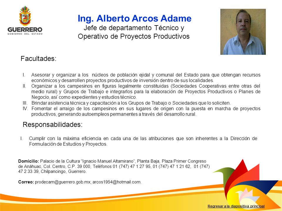 Jefe de departamento Técnico y Operativo de Proyectos Productivos