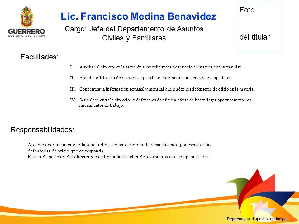 Cargo: Jefe del Departamento de Asuntos Civiles y Familiares