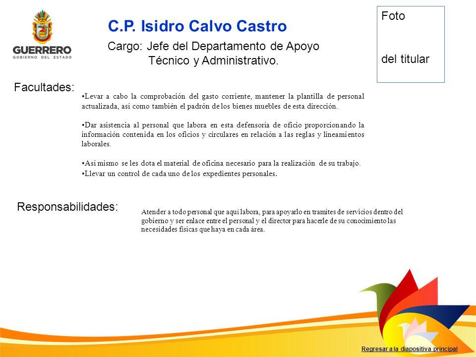 Cargo: Jefe del Departamento de Apoyo Técnico y Administrativo.