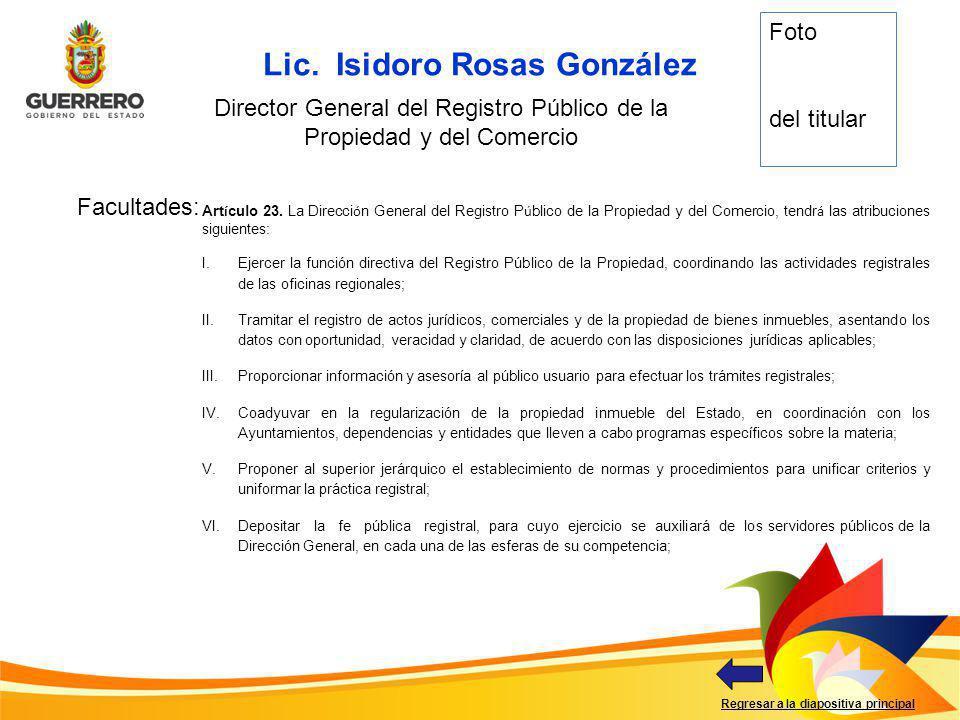 Director General del Registro Público de la Propiedad y del Comercio
