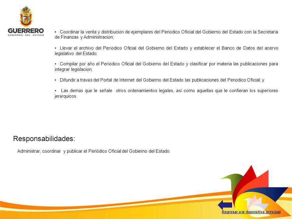 Coordinar la venta y distribución de ejemplares del Periódico Oficial del Gobierno del Estado con la Secretaría de Finanzas y Administración;