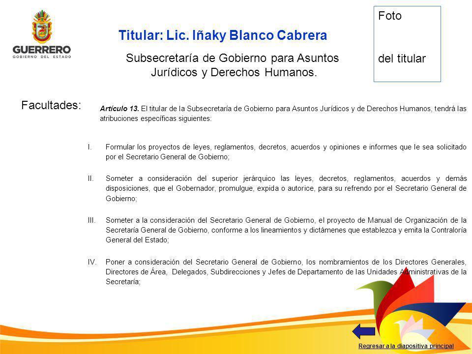 Titular: Lic. Iñaky Blanco Cabrera