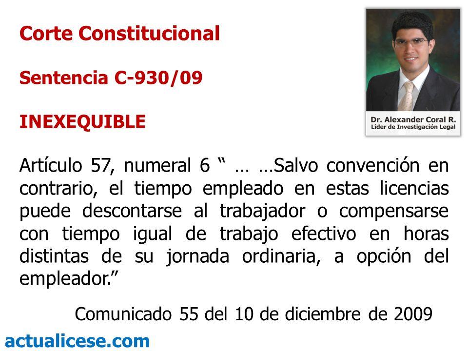 Corte Constitucional Sentencia C-930/09. INEXEQUIBLE.