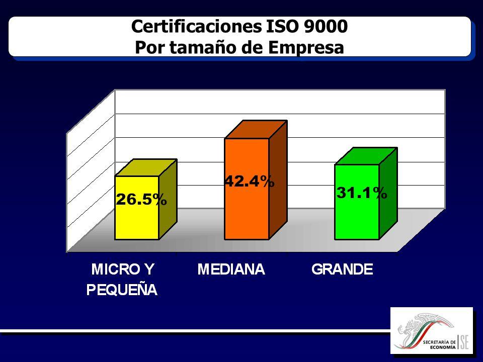 Certificaciones ISO 9000 Por tamaño de Empresa