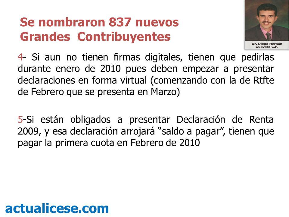 actualicese.com Se nombraron 837 nuevos Grandes Contribuyentes