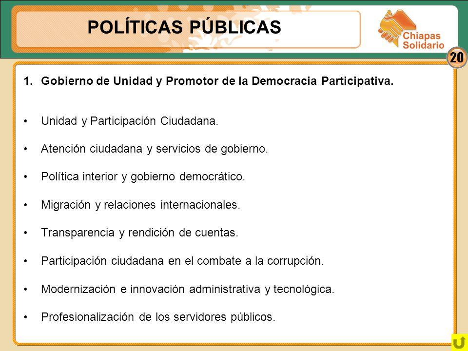 POLÍTICAS PÚBLICAS 1. Gobierno de Unidad y Promotor de la Democracia Participativa. • Unidad y Participación Ciudadana.