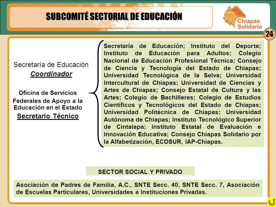 Federales de Apoyo a la Educación en el Estado SECTOR SOCIAL Y PRIVADO