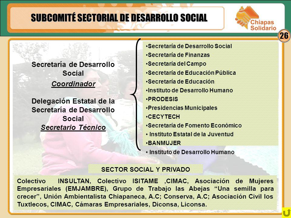 SUBCOMITÉ SECTORIAL DE DESARROLLO SOCIAL