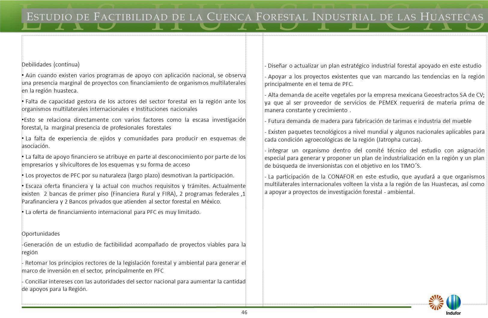 Amenazas Aumento en las importaciones traerá el aumento desplazamiento de productos forestales mexicanos.