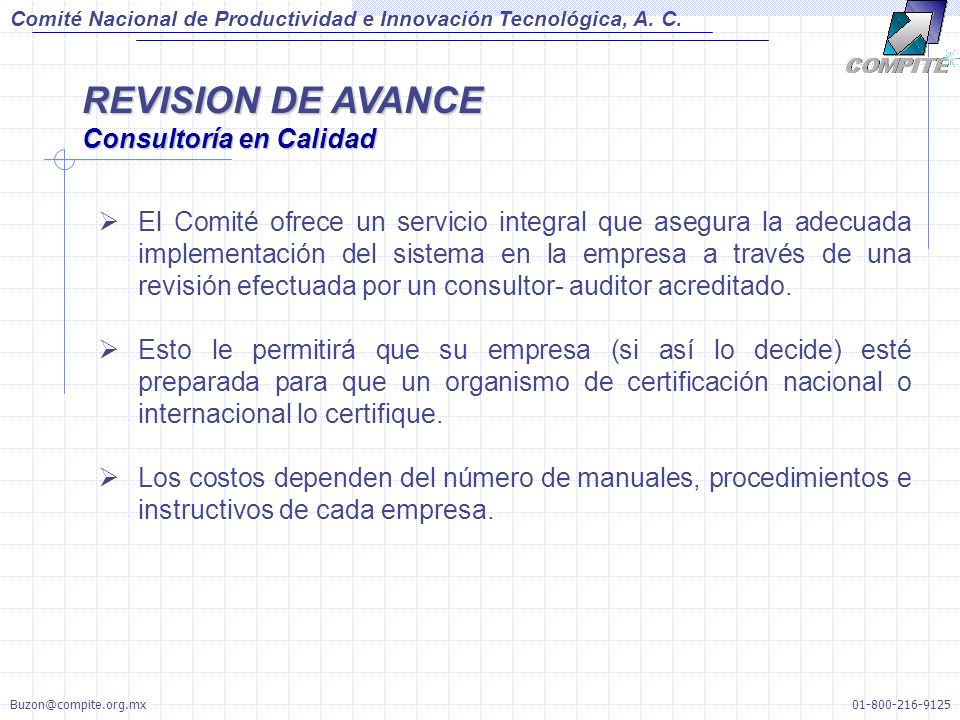 REVISION DE AVANCE Consultoría en Calidad