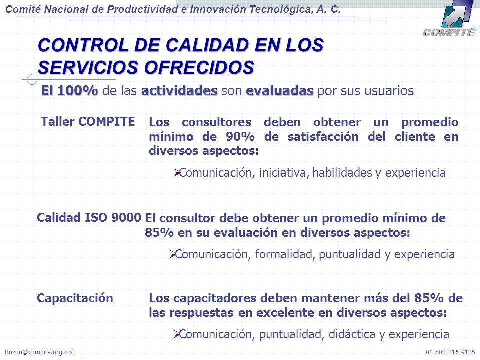 CONTROL DE CALIDAD EN LOS SERVICIOS OFRECIDOS