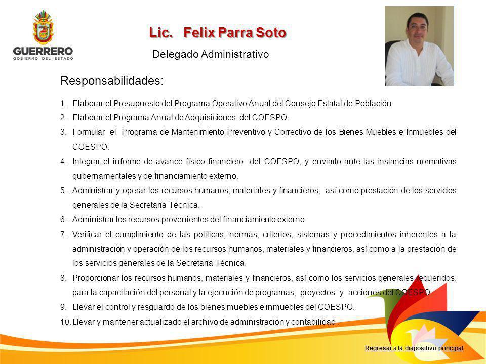 Lic. Felix Parra Soto Foto del titular Responsabilidades: