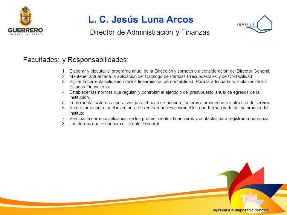 L. C. Jesús Luna Arcos Director de Administración y Finanzas
