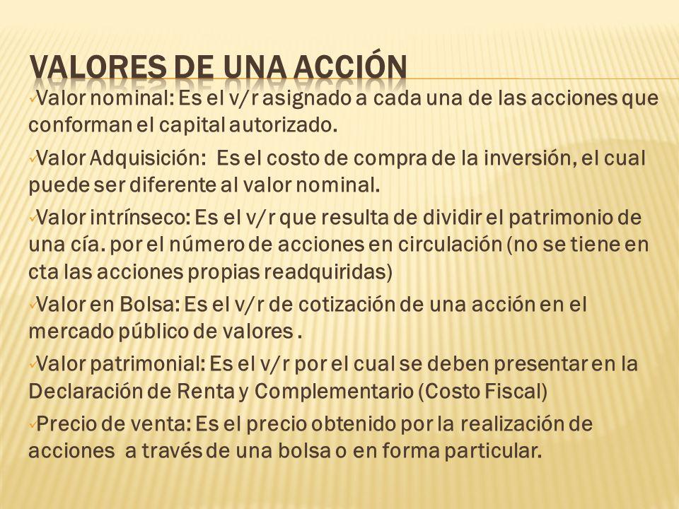 Valores de una acción Valor nominal: Es el v/r asignado a cada una de las acciones que conforman el capital autorizado.