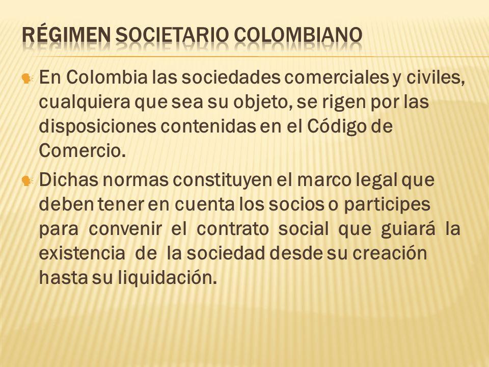 RÉGIMEN SOCIETARIO COLOMBIANO