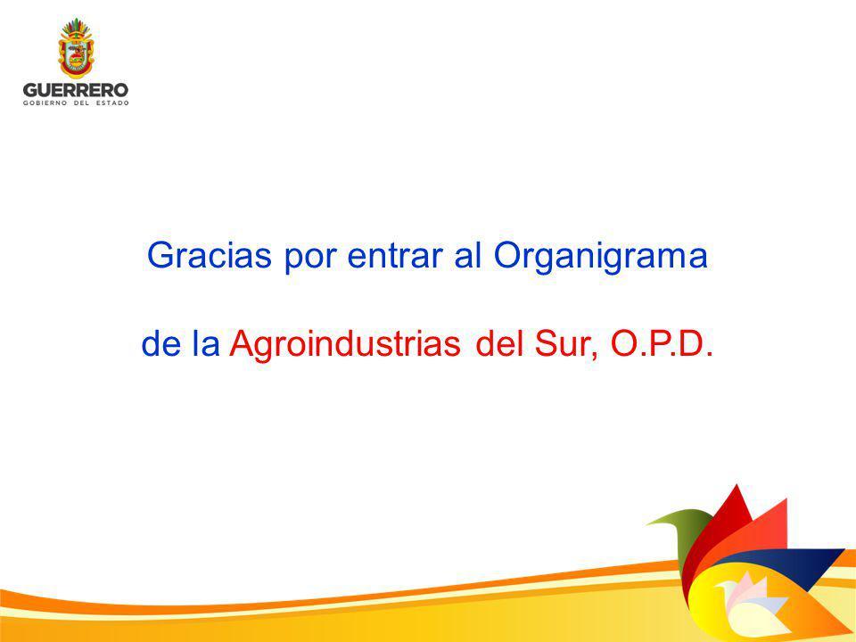 Gracias por entrar al Organigrama de la Agroindustrias del Sur, O.P.D.