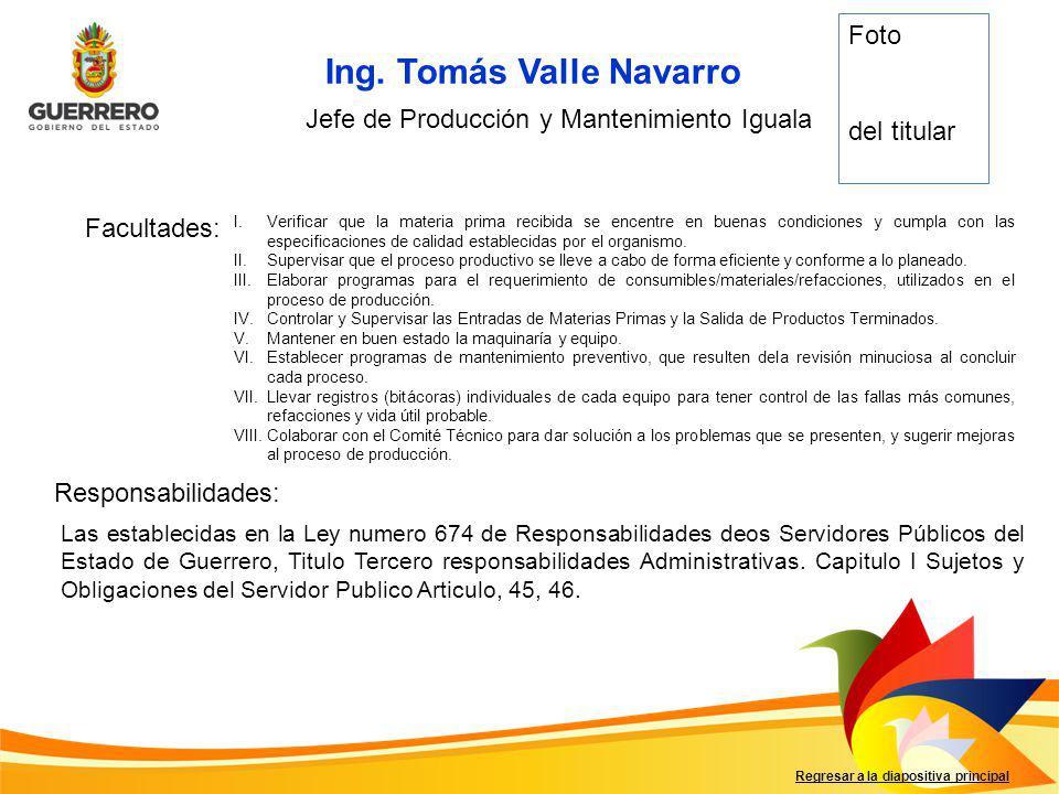 Jefe de Producción y Mantenimiento Iguala