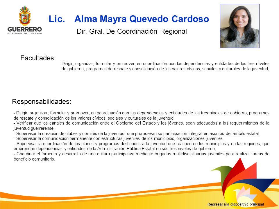 Lic. Alma Mayra Quevedo Cardoso