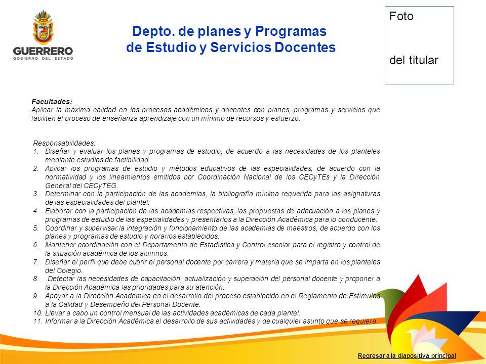 Depto. de planes y Programas de Estudio y Servicios Docentes