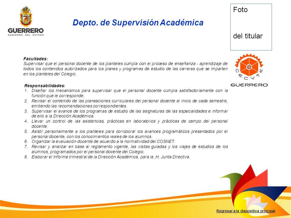 Depto. de Supervisión Académica