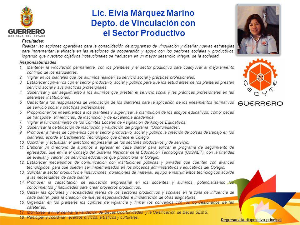 Lic. Elvia Márquez Marino Depto. de Vinculación con
