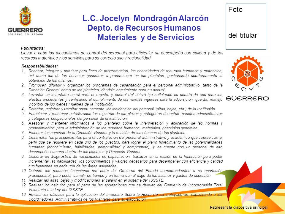 L.C. Jocelyn Mondragón Alarcón Depto. de Recursos Humanos