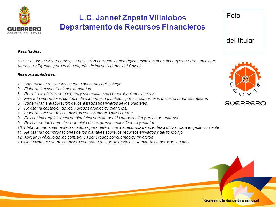 L.C. Jannet Zapata Villalobos Departamento de Recursos Financieros