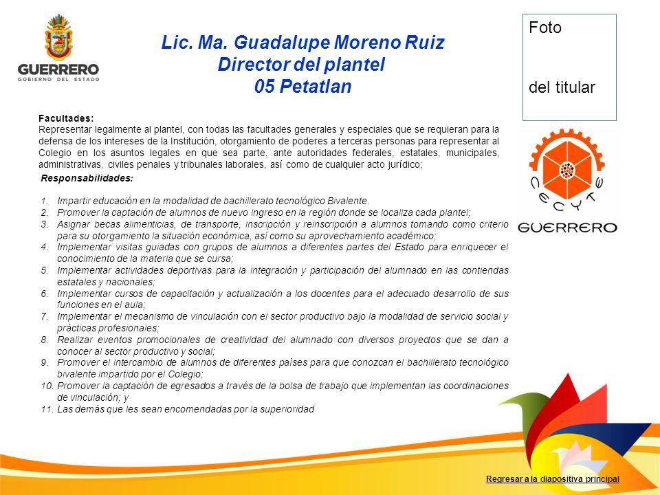 Lic. Ma. Guadalupe Moreno Ruiz