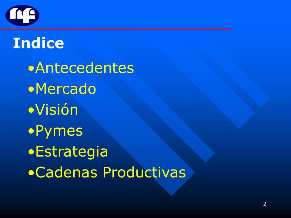Indice Antecedentes Mercado Visión Pymes Estrategia Cadenas Productivas