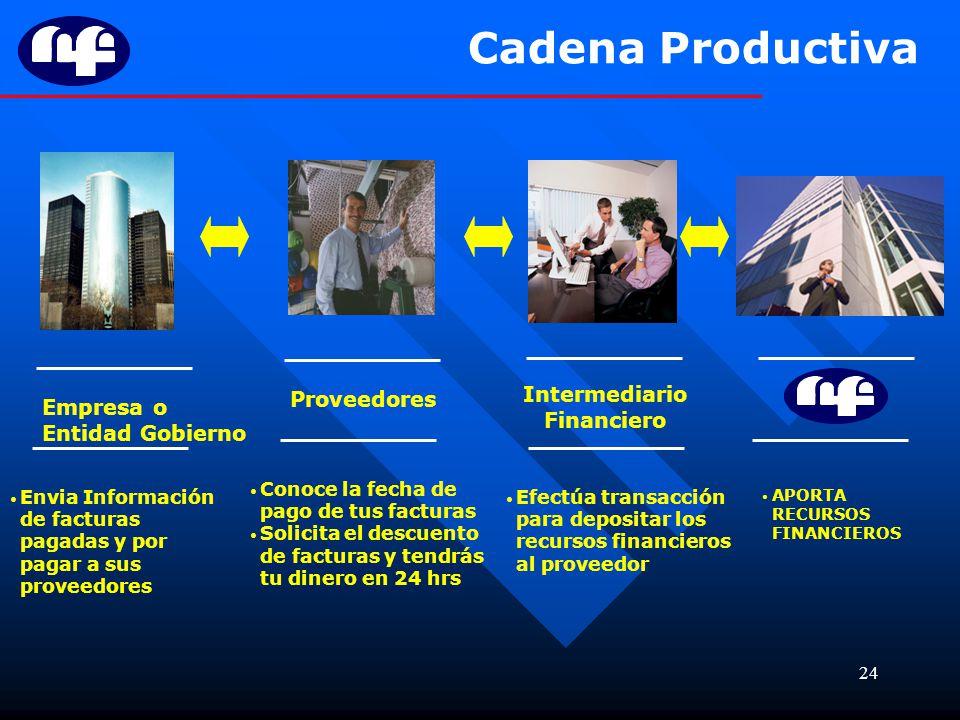 Cadena Productiva Empresa o Entidad Gobierno Intermediario Financiero
