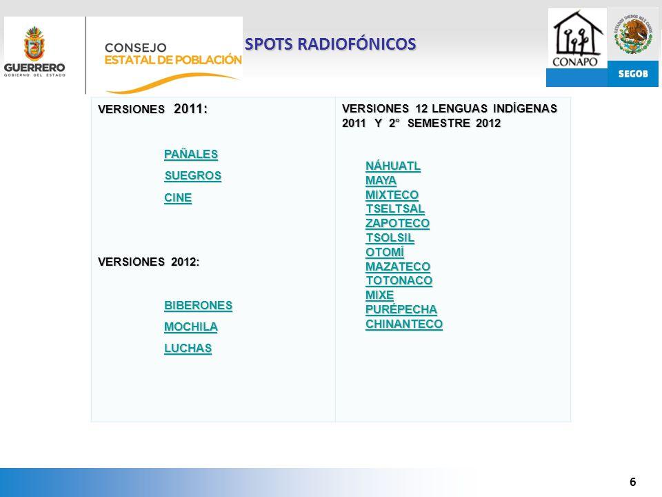 SPOTS RADIOFÓNICOS VERSIONES 2011: PAÑALES SUEGROS CINE