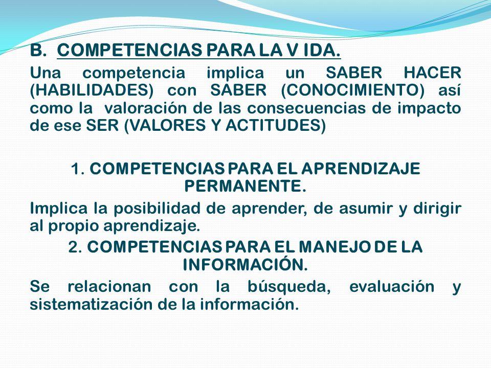 B. COMPETENCIAS PARA LA V IDA.