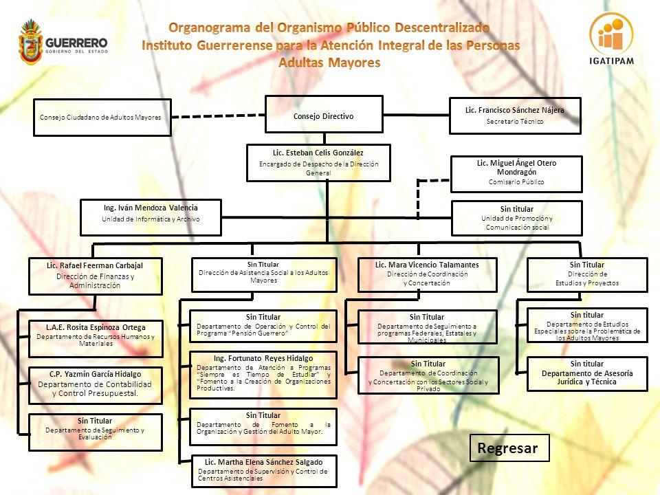 Organograma del Organismo Público Descentralizado Instituto Guerrerense para la Atención Integral de las Personas Adultas Mayores
