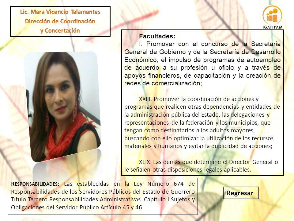 Lic. Mara Vicencio Talamantes Dirección de Coordinación