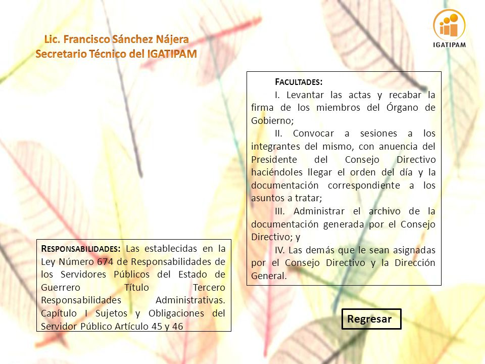 Lic. Francisco Sánchez Nájera Secretario Técnico del IGATIPAM