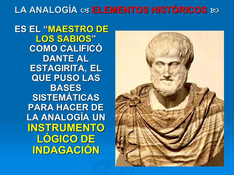 LA ANALOGÍA  ELEMENTOS HISTÓRICOS 