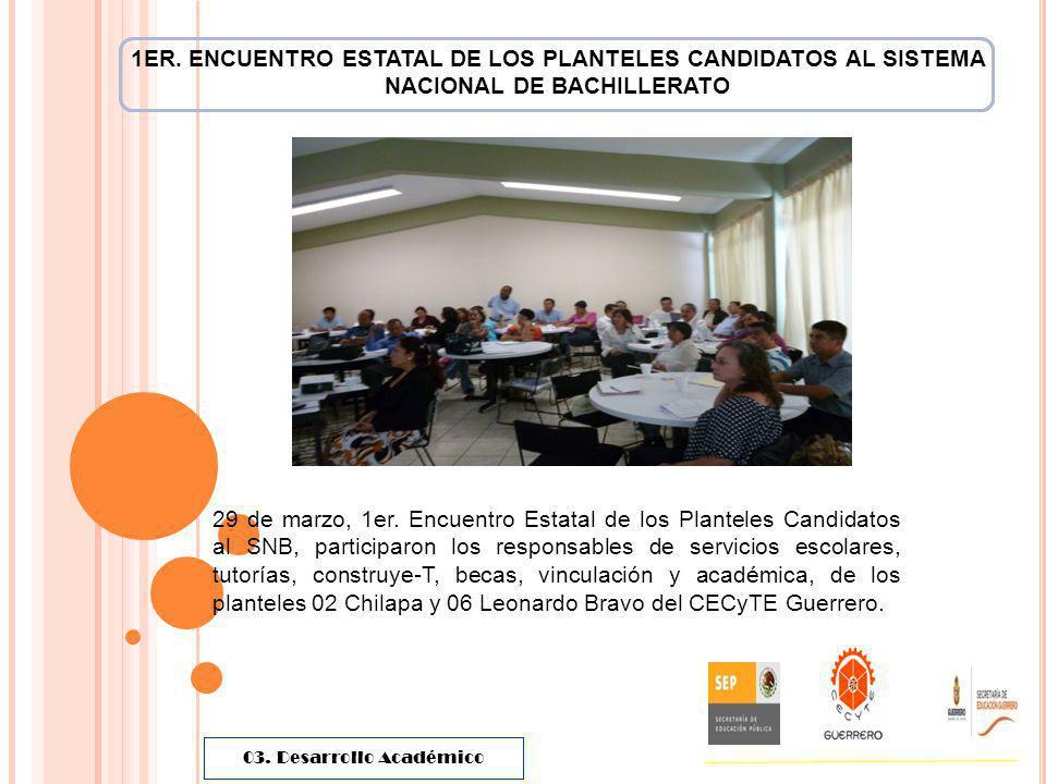 1ER. ENCUENTRO ESTATAL DE LOS PLANTELES CANDIDATOS AL SISTEMA NACIONAL DE BACHILLERATO