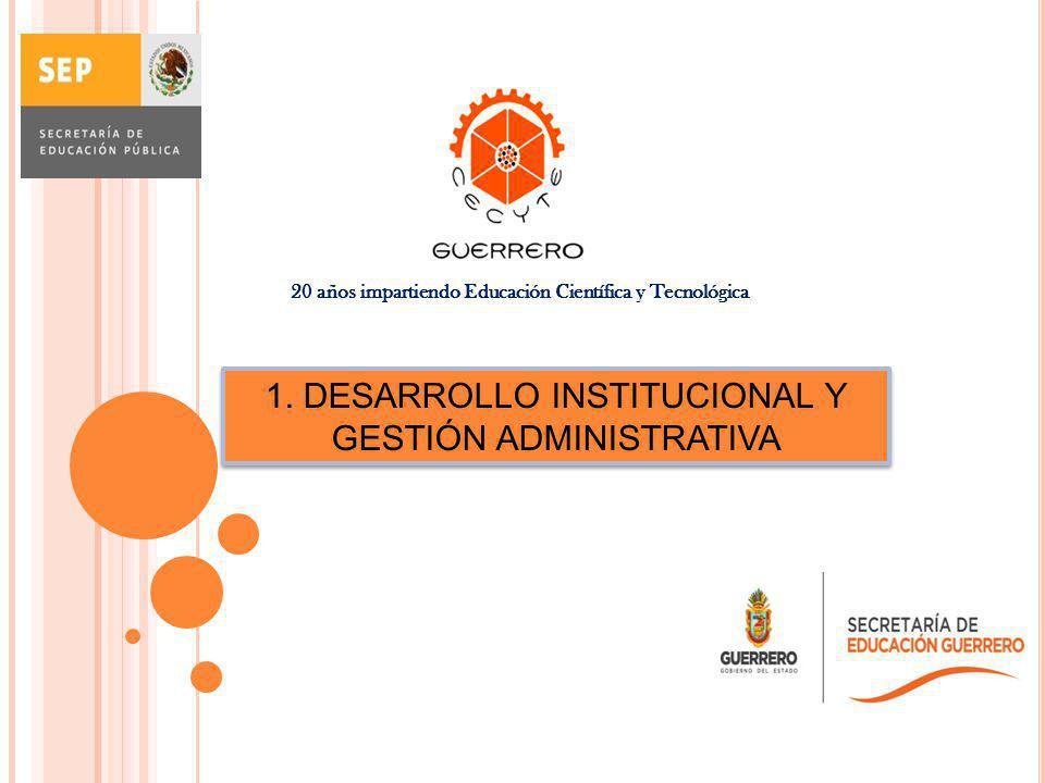 1. DESARROLLO INSTITUCIONAL Y GESTIÓN ADMINISTRATIVA