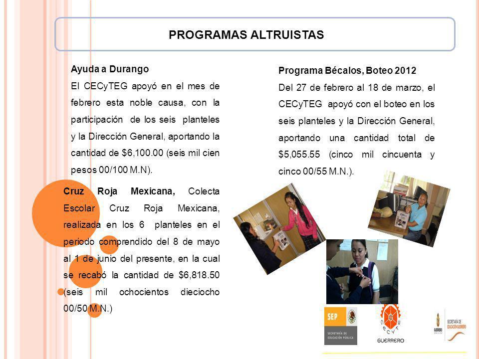 PROGRAMAS ALTRUISTAS Ayuda a Durango Programa Bécalos, Boteo 2012