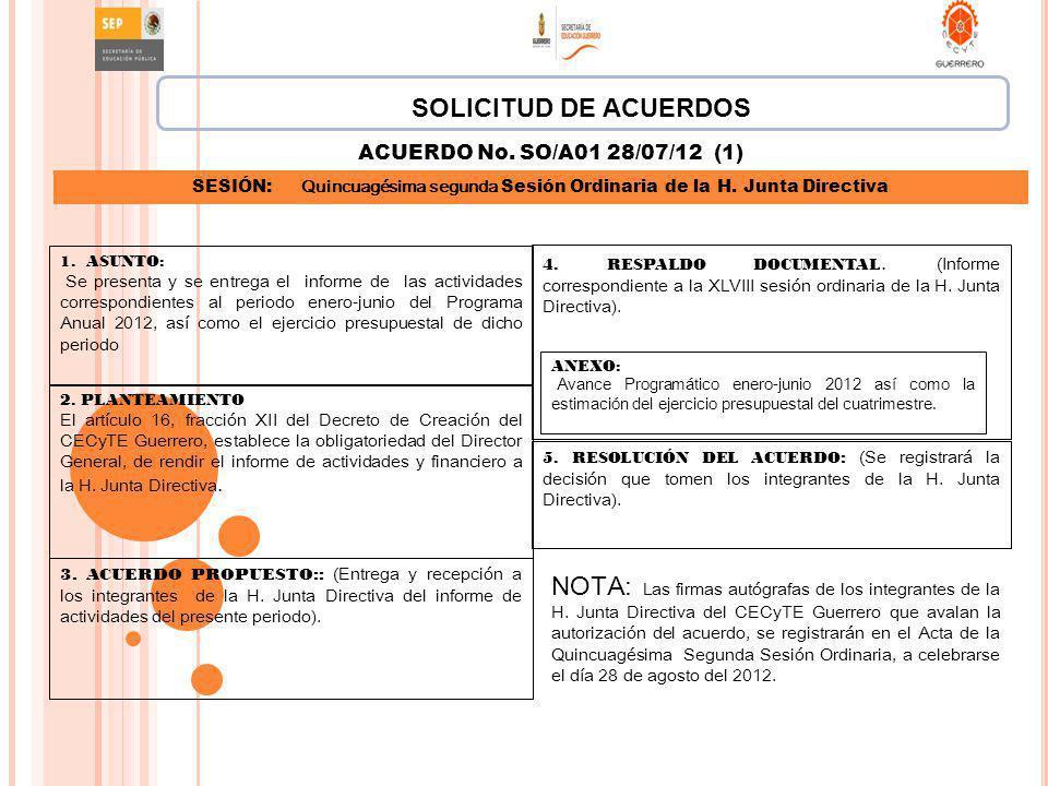 SOLICITUD DE ACUERDOS ACUERDO No. SO/A01 28/07/12 (1) SESIÓN: Quincuagésima segunda Sesión Ordinaria de la H. Junta Directiva.