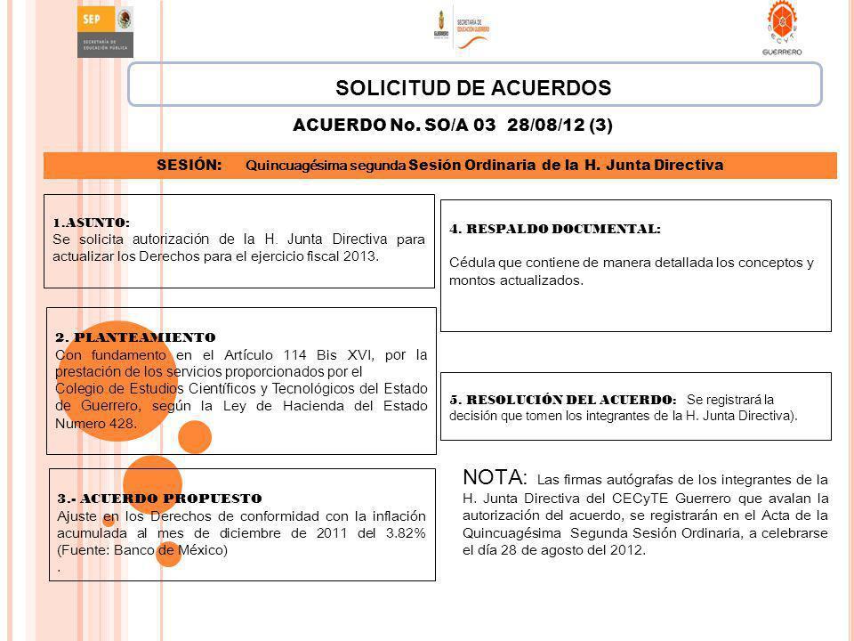 SOLICITUD DE ACUERDOS ACUERDO No. SO/A 03 28/08/12 (3) SESIÓN: Quincuagésima segunda Sesión Ordinaria de la H. Junta Directiva.