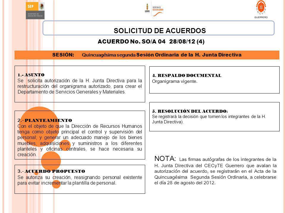 SOLICITUD DE ACUERDOS ACUERDO No. SO/A 04 28/08/12 (4) SESIÓN: Quincuagésima segunda Sesión Ordinaria de la H. Junta Directiva.