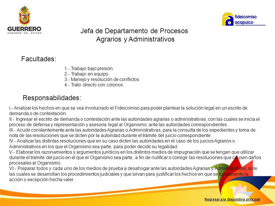 Jefa de Departamento de Procesos Agrarios y Administrativos