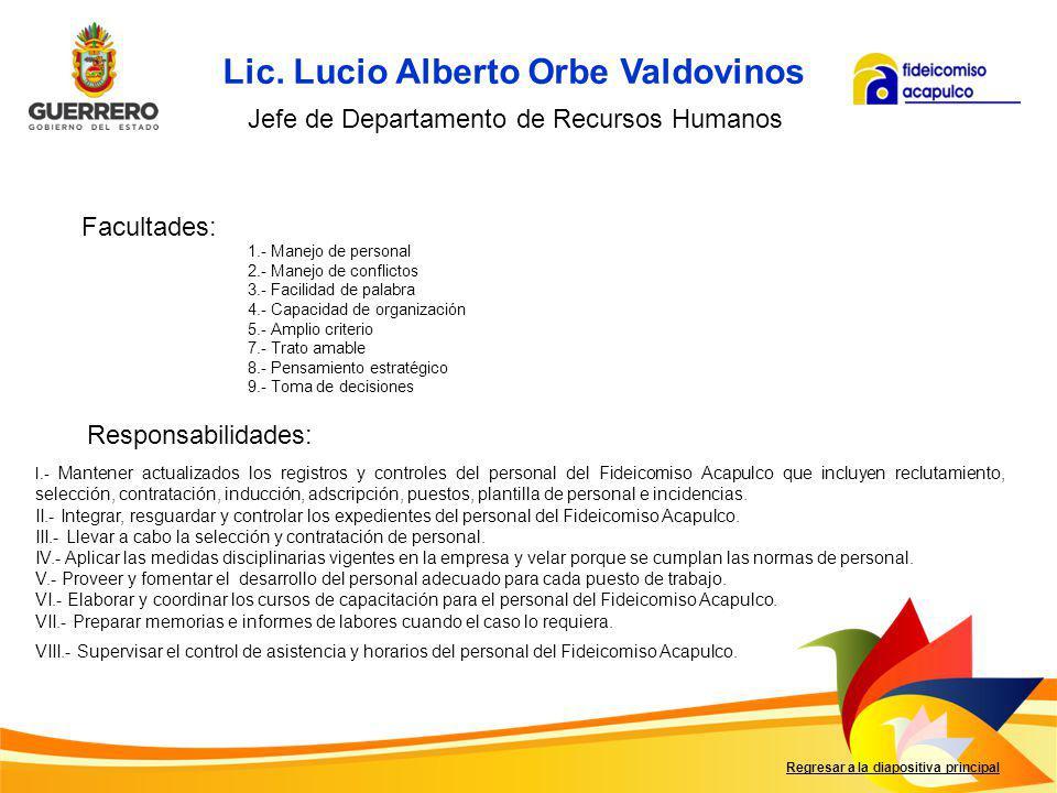 Lic. Lucio Alberto Orbe Valdovinos