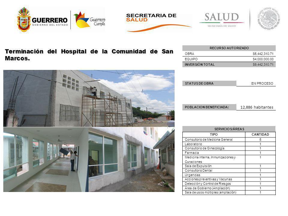 Terminación del Hospital de la Comunidad de San Marcos.