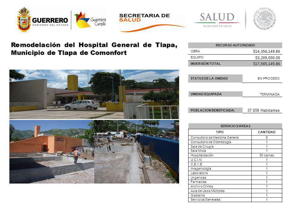 Remodelación del Hospital General de Tlapa, Municipio de Tlapa de Comonfort