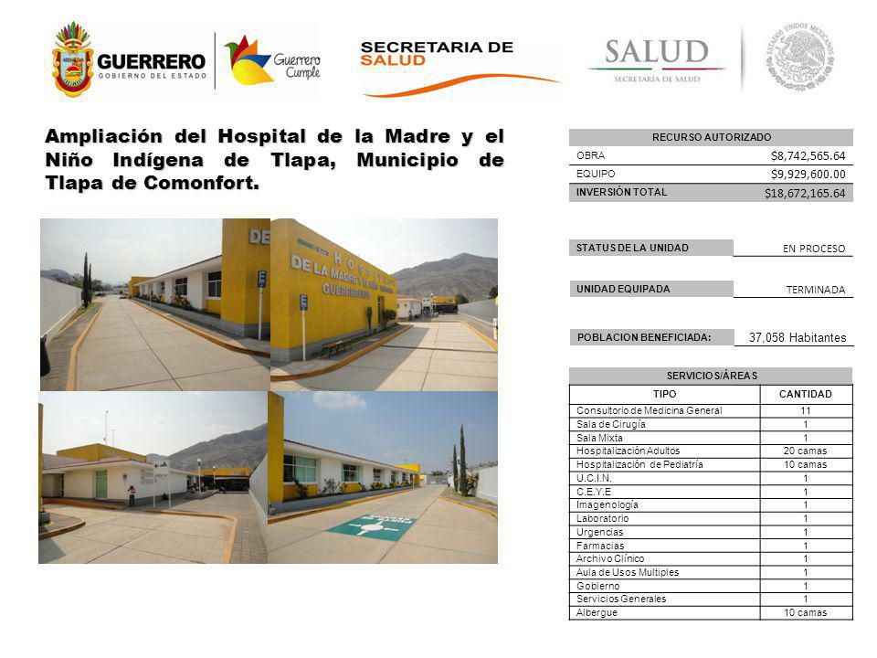 Ampliación del Hospital de la Madre y el Niño Indígena de Tlapa, Municipio de Tlapa de Comonfort.