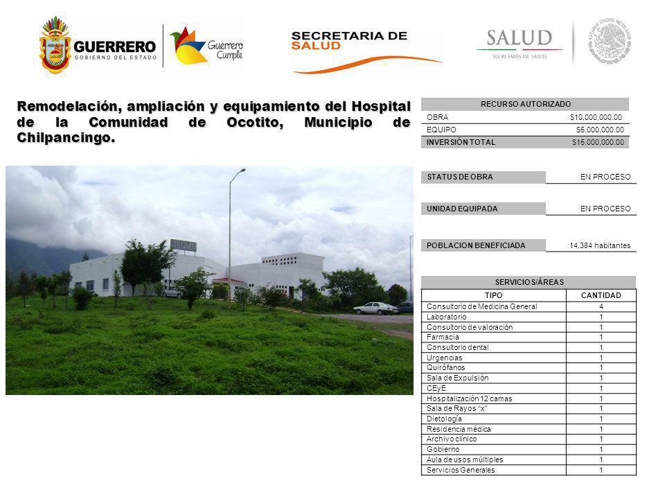 Remodelación, ampliación y equipamiento del Hospital de la Comunidad de Ocotito, Municipio de Chilpancingo.