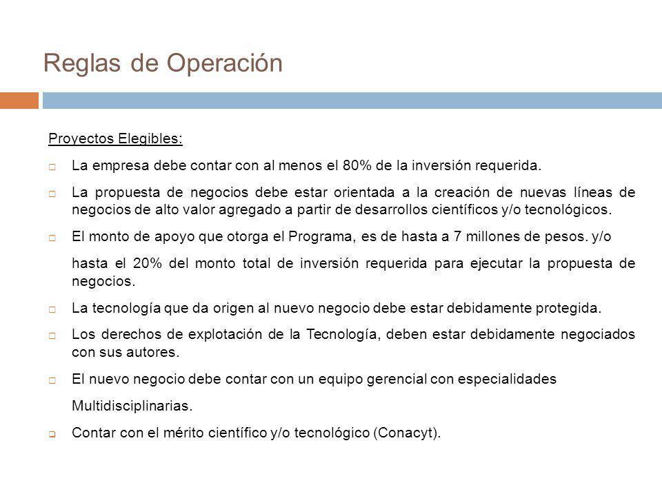 Reglas de Operación Proyectos Elegibles: